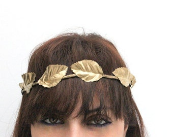 ATHENA Greek FOREST CROWN Halo - Woodland Wreath, gold leafs, gold leaves, Flower Girls , Whimsical, Woodland Wreath, Amazon head band