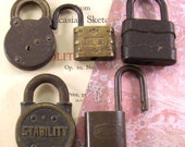 Vintage Padlocks - Stability Omeco U.S.N. Victory - Collection of Five - epsteam vestiesteam Converged Commodities