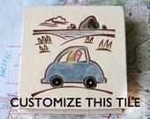 "CUSTOM handmade ceramic tile, coaster or wall hanging 4"" x 4"" tile"