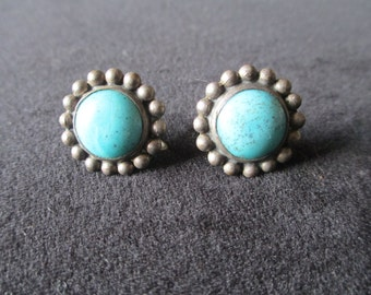 Vintage Mid Century Turquoise & Sterling Silver Screw Back Earrings