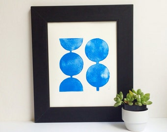 Retro Modern Geometric Circles in Royal Blue Linocut Art Print 8 x 10 Polka dot