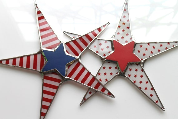 Betsy Ross- Patriotic Stars and Stripes 4th of July decor, 9 inch lacquered red white and blue glass star