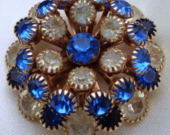 vintage Costume Jewelry faux gem pin brooch blue rhinestone silver