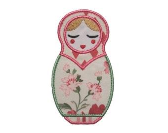 "Natasha Babushka Doll Appliques Machine Embroidery Design Applique Pattern 2 versions in 4 sizes 4"", 5"", 6"" and 7"""