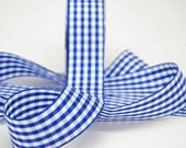 Gingham Ribbon -- 1.5 inches -- Royal Blue with White