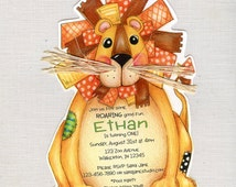 Personalized and Handcut Invitations - Birthday Party Invitations - Cat Birthday - Lion Birthday Party - Happy Birthday - Set of 10