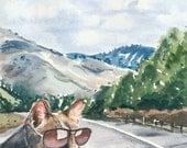 Travel Watercolor PRINT - Cat Watercolour, 8x10 Painting, Mountains, Landscape Illustration, Road Trip