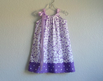 LAST ONE! Little Girls Purple Sun Dress  - White Flowers on Purple and Polka Dots - Girls Pillowcase Dress - Size 12m, 2T, 3T or 4T only