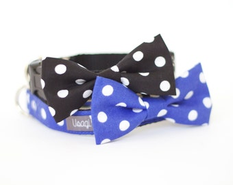 5 colors to choose from, Dog cat bow tie collar Polka dot pink purple blue black brown, dog bow tie collar, pet bow tie collar made in USA