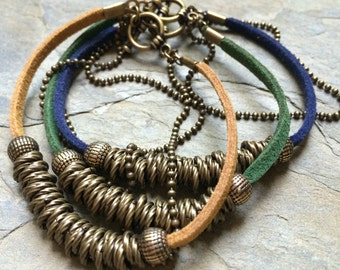 Leather stacking bracelet, brass beaded bracelet, stacking brass beaded bracelet, vegan suede bracelet, earthy brass stacking bracelet