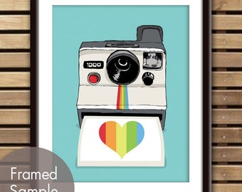 Rainbow Heart Snap Shot (Polaroid Camera) Art Print (Featured in Happy Blue) 30 Colors to choose from (Buy 3 Get One Free)
