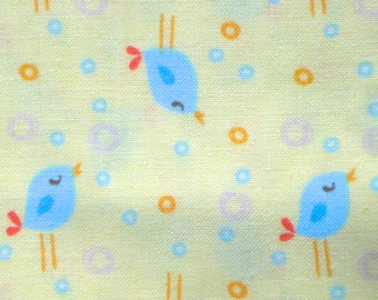 SALE : Tiny birds blue on pale yellow David Textiles fabric FQ or more