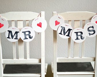 MR & MRS chair decoration // wedding bunting by renna deluxe