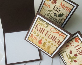 Thanksgiving/Autumn Miniature Note Cards:  Handmade Blank / 5 Pack Set - Fall Splendor