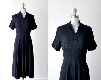 40's black dress. beaded evening dress. 1940's beaded dress. medium. m dress. 40 crepe dress.