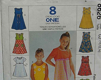 Girl's Easy Dresses, McCall's 8626 Sewing Pattern UNCUT Sizes 10, 12, 14
