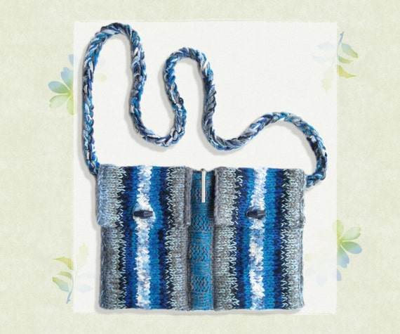 Orca Twin Bag - Pockets Bag for Organisation - Blue Handbag Hand-Knitted with Soft Yarn - Organised Bag with Pocket Design