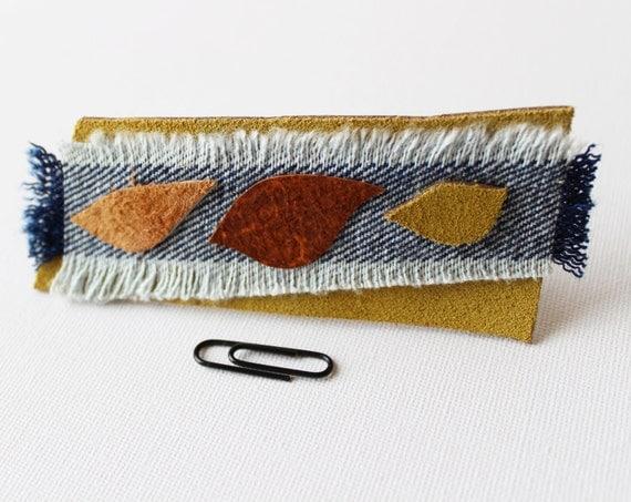Seasons Medium Chunky Hair Clip - Reclaimed Leather and Denim Handmade Hair Barrette Accessory