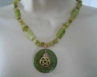 Green Witch Pentacle Necklace, wiccan jewelry pagan jewelry wicca jewelry witch jewelry goddess pentagram witchcraft magic handfasting