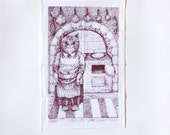 Kitchen cat tea towel burgundy old fashioned kitchen screenprinted