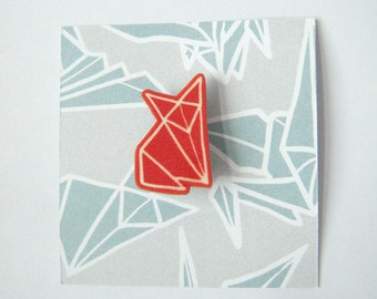 Red Fox origami brooch badge shrinky plastic
