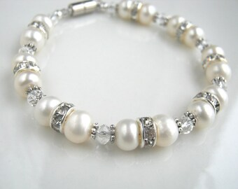 Crystal and White Freshwater Pearl Bracelet Magnetic Clasp White Pearl Bridal Bracelet Bridal Jewelry