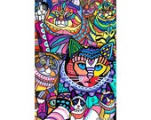 Crazy Cat Art Poster Print of Painting by Heather Galler Modern Abstract Colorful Cats (HG326)