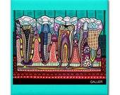 65% Off- Dental art tile print on ceramic by Heather Galler abstract anatomy science Dentist Teeth Tooth folk Art (HG858)