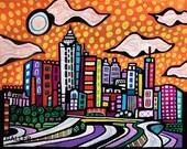 Atlanta Skyline Art Print Poster of Painting by Heather Galler City (HG140)Digital File