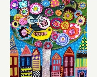 60% Off- Bird Art - TREE PRINT - Bird Tree Folk Art Poster Print of Painting Contemporary Modern Colorful Gift