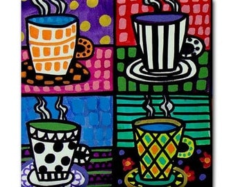 65% Off- Coffee Cups art Tile Ceramic Coaster Mexican Folk Art Print of painting by Heather Galler dog