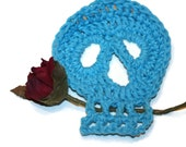 Day of the Dead Sugar Skull Crochet Aqua