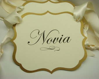 Novio and Novia Wedding Chair Signs