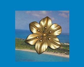 Gold Toned Matte Finish Flower Pin
