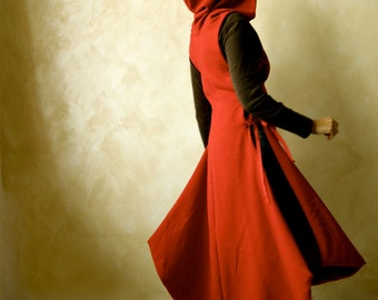 Red Hooded Cape, Red coat, wool dress, Medieval Tunic, Winter dress, Medieval cape, tunic dress, LARP, fantasy cloak, hooded dress, red cape