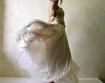 Wedding skirt, Bridal skirt, Boho wedding skirt, Silk skirt, Long skirt, Hippie wedding skirt, fairy skirt, Asymmetrical skirt, Tulle skirt