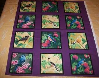 A Wonderful Fruit Of The Vine Birds In The Garden Cotton Fabric Panel Free US Shipping