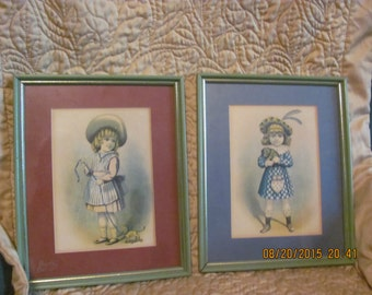 REDUCED FREE SHIPPING Pair Antique Young Victorian Girls Pull Toy Puppy Dog Prints Vintage Matted Picture Frames
