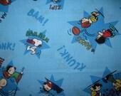 1 Yard Peanuts Cotton Fabric Snoopy Football Blue Klunk Bonk BTY