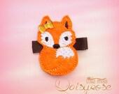 FOX HAIR CLIP, fox feltie clip, fox clippie, felt fox clip, fall hair clip, orange fox clip