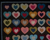 Reserved For Michelle Vintage Hand Hooked Recycled Wool Heart Rug