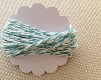 5m Teal Divine Twine - 5.4yds teal or pale aqua & white striped cotton string - gift wrapping supply - baked goods - goody bag