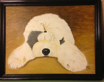 Old English Sheepdog Painting