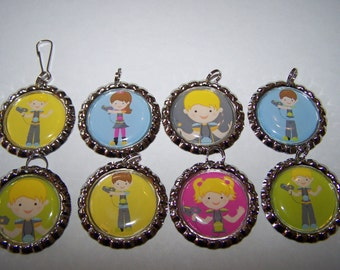 Lazer Tag Party Favors / Laser Tag Bottle Cap Necklaces or Zipper Pulls / Boys Birthday Party Favors