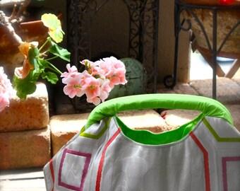 Obi / Kimono / Bag / WH610 Crane Pattern Beautiful Obi Spring Handle Bag