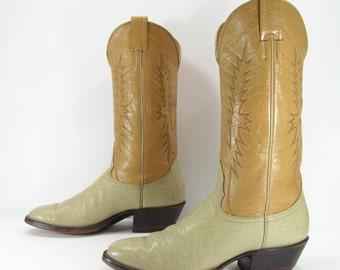 vintage cowboy boots womens 9 B bone camel western nocona vintage genuine leather