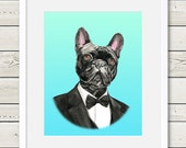 French Bulldog Art - French Bulldog Groom Dog Portrait Painting - Wedding Dog Art, modern dog home decor, dog print
