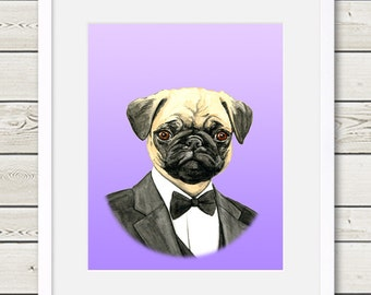Pug Art - Pug Groom Dog Portrait Painting - Wedding Dog Art - dog home decor, dog wall art, dog gift