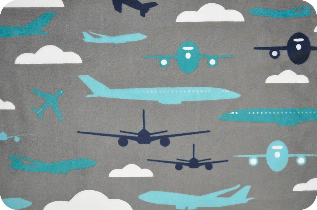 Minky aviator teal airplane fabric shannon fabrics 1 for Airplane fabric by the yard