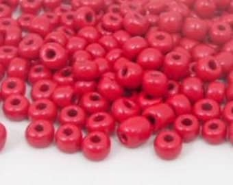 500pcs. Dark Red seed beads , 4mm , 6/0